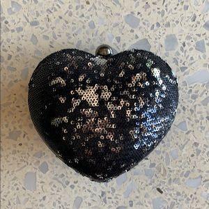 Sequin Heart Clutch or Cross Body Bag